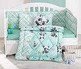 DecoMood Cute Little Panda Bedding Set - 100% Cotton Nursery Crib Set for Girls, 6 Pieces Baby Comforter/Quilt Set with Crib Bumper, Comforter, Crib Sheet, Pillowcases