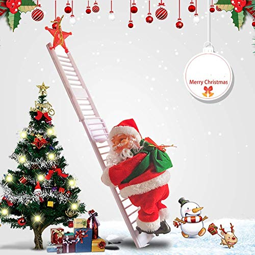 JIMACRO Santa Climbing Rope Ladder, Electric Christmas Santa Claus Climbing Ladder with Music Plush Doll for Hanging Ornament Tree Indoor Outdoor Decoration (Straight Ladder) (Straight Ladder)