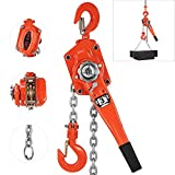 Happybuy 3 Ton Lift Lever Block Chain Hoist 5FT Chain Come Along Portable Ratchet Puller Hoists for Lifting
