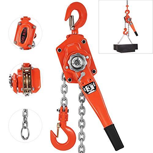 Happybuy Lever Block Chain Hoist 3 Ton, Chain Come Along 20', Chain Hoist 6600LBS, Ratchet Chain Hoist 5/16' Diameter for Warehouse Garages Construction Zones