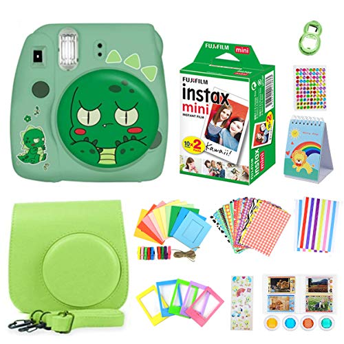 ISOSOJOY Fujifilm Instax Mini 9 Camera Green Toy+ Instant Camera Set+Fuji + Instax Mini 9 Case + Instax Accessories Kit Bundle, Instant Camera Gift Sets (Global Limited Edition) -Lime Green Dinosaur