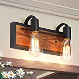 LNC A03439 Farmhouse Bathroom Lighting Fixtures Rustic Vanity Sconce Wood Wall Lamp