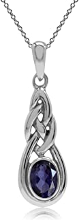 Silvershake Natural Iolite White Gold Plated 925 Sterling Silver Celtic Knot Pendant with 18 Inch Chain Necklace