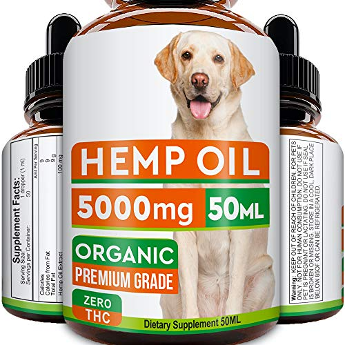 GOODGROWLIES Hemp Oil for Dogs and Cats - 5000MG - 50ml - Hemp Extract Made in UK - 100% Natural Hemp Oil for Pets - Omega 3, 6