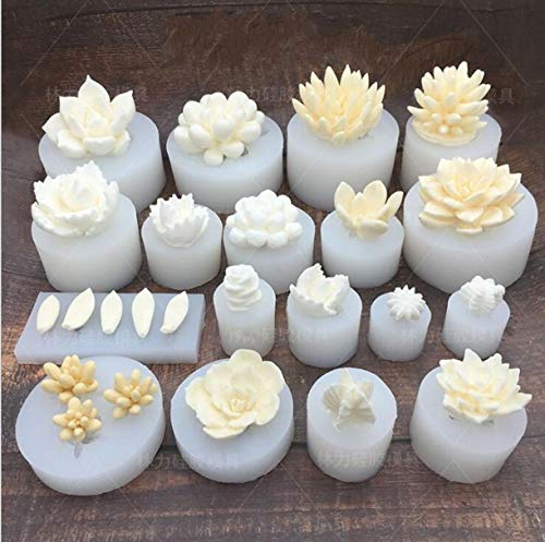 WellieSTR 18 Stlye Succulent Cactus Silicone Mold Candles Handmade Molds Soap Mold Fondant Chocolate Candy Mould for Party Wedding Cake Decorating