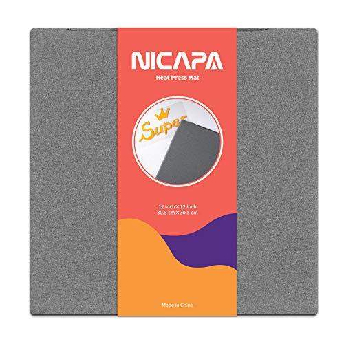 NICAPA Hitzepress Schutzmatte für Cricut Easy Press Hitzepressmaschinen & HTV Vinyl Press Matte zum Aufbügeln Heat Press Mat für Silhouette Cameo Transfer der Bügelprojekte,[30.5cmX30.5cm,12
