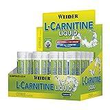 Weider L-Carnitine Ampollas Sabor limón. 20 Ampollas de 25 ml. 1800 mg de l-carnitina por Ampolla. Ayuda a quemar grasa.