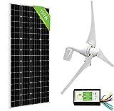ECO-WORTHY 600 Watts Wind Solar Power Kit: 1pc 12V/24V 400 Watt Wind Turbine Generator + 1pc 12V 195W Monocrystalline Solar Panel + 9.4inch Cable