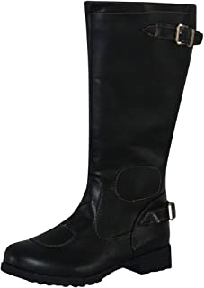High Tube Flat Boots with Zipper For Women's Christmas gift Sagton Mens Womens Leather Knee-High Buckle Zipper Shoes Cowboy Low-heeled Knigh Boots Black,12.5