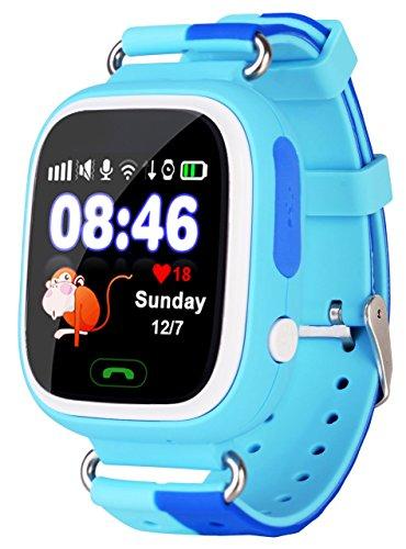 VIDIMENSIO GPS Telefon Uhr Kleiner Affe - blau (Wifi), OHNE Abhörfunktion, für Kinder, SOS + Telefonfunktion + GPS+WIFI+LBS Ortu