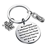 LQRI Runner Gift Running Shoe Charm Keychain Running Gift Marathon Gift Be Confident in Whatever Direction You Choose to Go Running Lover Jewelry (K-Run BE)