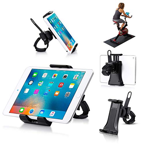 Giosio Universal Treadmill Holder Portable Indoor Cycling Spin Bike Clamp Mount Bicycle Handlebar Bracket Compatible with any Phone & Tablet like iPhone,iPad 3/4/5,iPad Mini 2/3/4,iPad Air1/2,iPad Pro