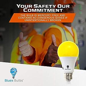 Solray Amber Yellow LED Bug Light Bulb 2-Pack No Blue Light Outdoor 650 Lumens 120V E26 Medium Base LED 9.5 -Watt (40-watt replacement) Outdoor Bug LED Warm Light Bulb