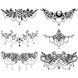 "glaryyears 6 Sheets Black Underboob Tattoo for Women, Flower Moon Bowknot Rose Designs Temporary Tattoo Stickers on Chest Waist Waterproof Body Art 5.4''x9.4"""