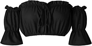 leveltech Women's Strapless Off Shoulder Ruffled Crop Top Blouse Tee T-Shirt