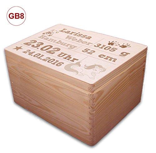 MidaCreativ zur Geburt, große Holz-Geschenkbox Gr. 3 Kiefer incl. Auswahl-Lasergravur (GB8) optional auch abschließbar