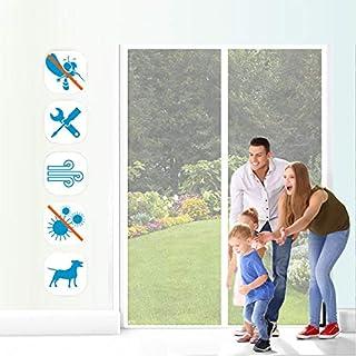 Yurun Mosquitera Puerta Enrollable Protección contra Insectos Fácil de Instalar Que Se Cierra AutomáTicamente para terraza/habitacion, 70x200cm Blanco