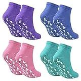 4 Paare Yoga Socken Anti Rutsch Socken, Rutschsocken rutschfeste Stoppersocken, Baumwolle Antirutsch Sportsocken Haussocken für Damen & Herren EU 37-42, Pilates Tanz Trampolin (Lila+Cyan+Blau+Pink)