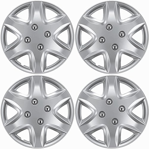 14 inch Hubcaps Best for 2006-2011 Chevrolet Aveo - (Set of 4) Wheel Covers 14in Hub Caps Silver Rim Cover - Car Accessories for 14 inch Wheels - Snap On Hubcap, Auto Tire Replacement Exterior Cap