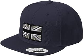 Custom Snapback Baseball Hat British Flag Black White Embroidery City Acrylic