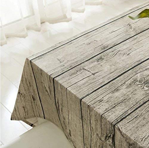 XUDOAI Vintage Rectangle Mantel de Lino, Wood Stripe Mantel de Mesa para el Restaurante del Hotel de casa Restaurante, Calor y Humedad Resistencia (140 * 250cm(55 * 98inch))