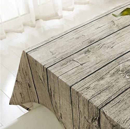 XUDOAI Vintage Rectangle Mantel de Lino de algodón, Wood Stripe Mantel de Mesa para el Restaurante del Hotel de casa Restaurante, Calor y Humedad Resistencia (140 * 250cm(55 * 98inch))