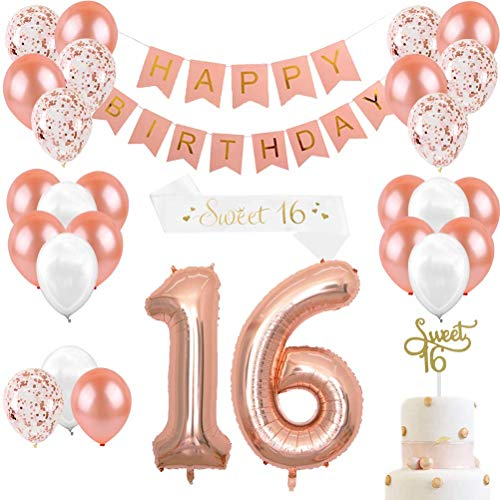 Rose Gold Geburtstag Dekorationen & Sweet 16 Party Supplies für Mädchen, Cake Topper, Satin Schärpe, 16 Anzahl Luftballons, Happy Birthday Banner und Luftballons Pearl White