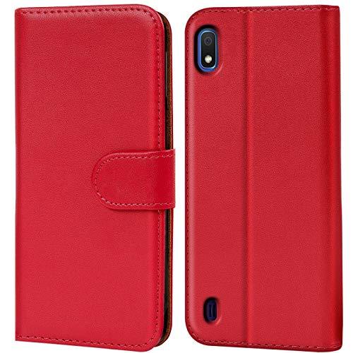 Verco kompatibel mit Samsung Galaxy A10 Hülle, Handyhülle für Galaxy A10 Tasche PU Leder Flip Hülle Brieftasche - Rot