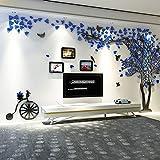 Topmail Arbre Stickers Muraux 3D avec Cadres de Photo (XL, Bleu+Droite)