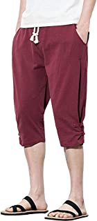 Zhouguoq Casual Linen Elastic Waist Capri Pants for Men Fashion Pure Color Relaxed Fit Board Trousers Stretch Artsy Shorts