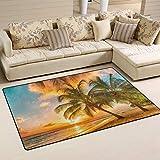 SunsetTrip - Alfombra antideslizante para sala de estar, dormitorio, diseño de palmera, tacto suave, tamaño extragrande, lavable, 152 x 99 cm