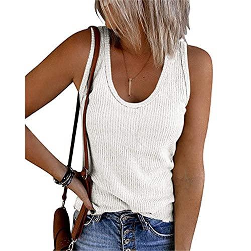 Camiseta Sin Mangas Mujer Verano Sexy Elegante Top Sin Mangas Moda Playa Vacaciones Ocio Suelto Cómodo Color Puro Clásico Mujeres Top Mujer Camisa K-White XXL