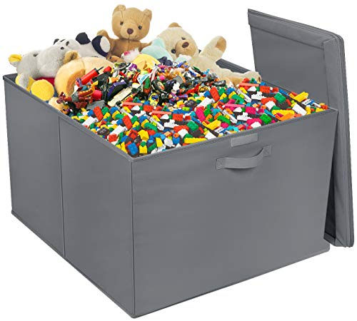 Sorbus Square Toy Chest with Flip-Top Lid, Kids Collapsible Storage for Nursery, Playroom, Closet, Home Organization, Large (Gray)