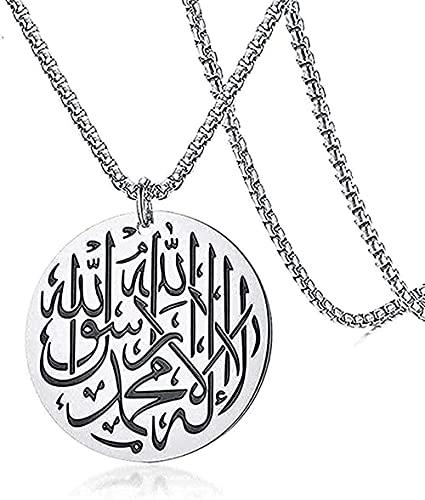 NC198 Collar Collar de Acero Inoxidable para Hombre Redondo musulmán Islam Alá Collar con Colgante con Caja Color Color 60 cm Regalos