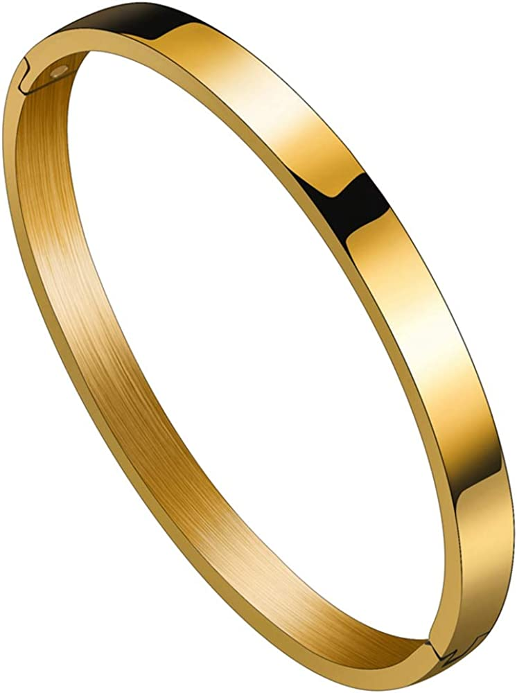 Jude Jewelers Stainless Steel Classical Simple Plain Blank Open Clasp Bangle Bracelet