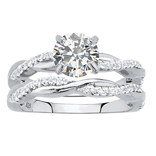 Sterling Silver Round Cubic Zirconia Twisted Vine Bridal Ring Set Size 7