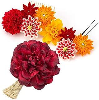 [ミッシュキッシュ]髪飾り ヘアアクセサリー つまみ 日本製 和装アレンジセット つまみ細工のコームとUピン、ダリアとタッセルのクリップ、オーガンジーのUピンの6点セット 4500-001
