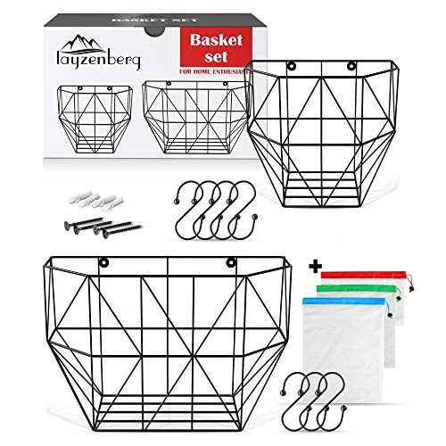 Wall Hanging Fruit Basket Set – Wall Mounted Fruit Basket for Kitchen Pantry - Fruit and Vegetable Metal Wire Baskets for Storage Wall Mount or Hanging on Rack - Hanging Produce Basket for Kitchen