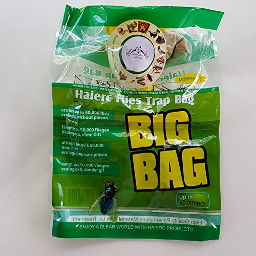 Nature Supplies 4 Pack Big Bag Disposable Outdoor Hanging Fly Trap Traps and rids Your Property of Flies with its Irresistible Non Toxic Attractant That is Safe and 100% Effective