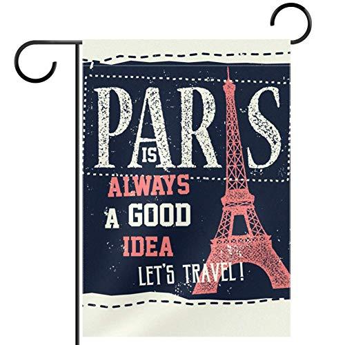 TIZORAX Paris Eiffelturm Karte Garten Flaggen Banner wasserdicht Willkommen Heim Dekoration Urlaub Hof Flagge 30,5 x 45,7 cm, Textil, multi, 12x18in