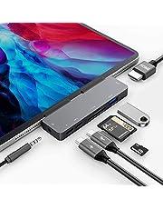 7in1最新iPad Pro 2020 2018 /iPad Air 4 専用ドッキングハブ USB-C ハブ 4K HDMI出力 60W PD充電 USB3.0 5Gbpsデータ転送 SD/Micro SDカードリーダー 3.5mmヘッドホンジャック タイプ C データ転送
