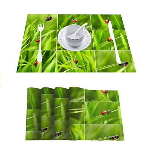FloraGrantnan Non Slip Heat Resistant Table Mats Placemat, Beautiful Ladybug on Green Grass Nature Collage, Reusable Non-Slip Table Mats Placemats, Set of 4