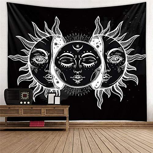 GenericBrands Tapiz de Sol y Luna Misteriosa decoración del hogar Europa Medieval Adivinación Colgante de Pared Manta de Playa en Blanco y Negro