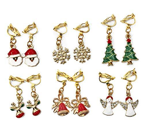 6 Set Girls Gold Clip On Christmas Drop Dangle Earrings Red Green White