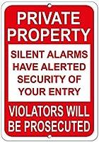 耐久性のある錆びないビジネスサイン、サイレントアラーム違反者が起訴されます、コーヒーオフィスプールヤードの公共トイレ駐車場の家の壁の装飾、ヴィンテージアートポスター、家の壁の装飾