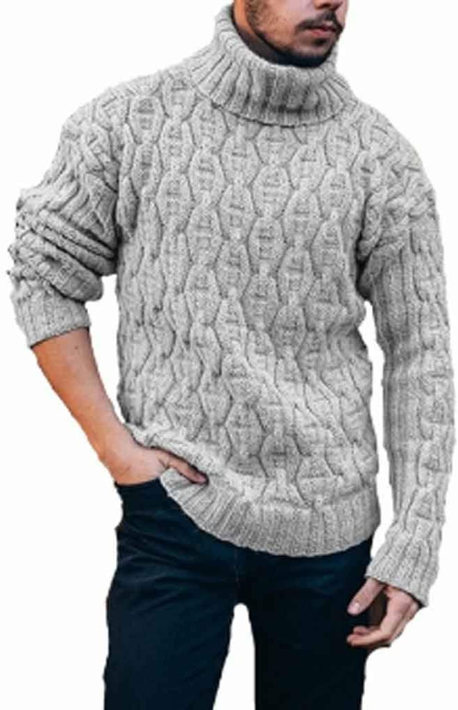 GFDFD Turtleneck Mens Pullover Autumn Winter Soft Warm Solid Comfortable Spacious Clothes Knitted Cotton Casual Sweater (Color : B, Size : L code)