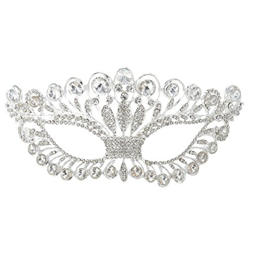 OULII Masquerade Mask Luxury Diamond Rhinestone Fancy Mask Party Crown Mask for Women Lady