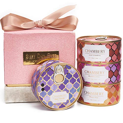 CHAMBERY Aromatherapy Candle Gift Set, 4 Fruit Scented Candles, Strawberry, Raspberry, Mango, Lemon Lavender, 16.6 Oz (4.2oz x 4), Birthday Candle Gifts for Women