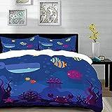 ropa de cama - Juego de funda nórdica, dibujos animados, Mundo submarino Peces en acuario y cangrejos de ballena Burbujas de medusa Coral, azul y multicolor, Juego de funda nórdica de microfibra con 2