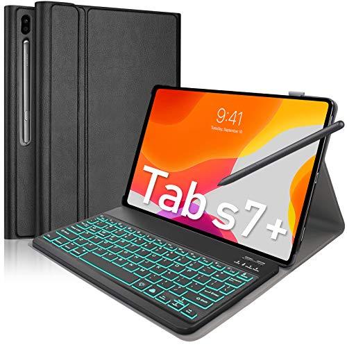 Upworld - Funda para teclado Samsung Galaxy Tab S7 +/Tab S7 Plus de 12,4 pulgadas, versión 2020 (SM-T970/T975/T976) 7 colores retroiluminado teclado Bluetooth [US Layout] para Tab S7 Plus, color Negro